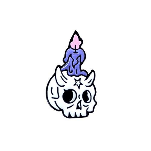 Dandeliondeme Unisex Halloween Zombie Skull Candle Brooch Pin -