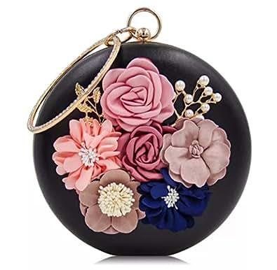 Tooba Handicraft Women's Synthetic Flower Round Clutch (Black)