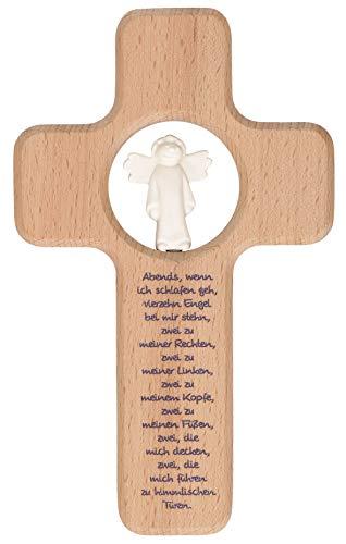 Butzon und Bercker Kinder Holzkreuz Vierzehn Engel 18 cm Engel aus Porzellan Geschenkbox