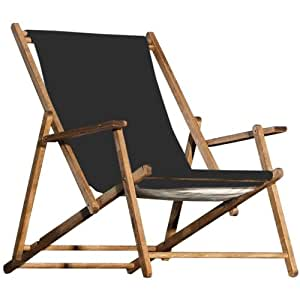 jan kurtz deckchair schwarz strandstuhl teak holz klappbar k che haushalt. Black Bedroom Furniture Sets. Home Design Ideas