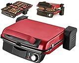 Kontaktgrill | Panini-Maker | Tischgrill | Sandwichtoaster | 2000 Watt | 180° Öffnung | Anti-Haftbeschichtung | Thermostat | Cool-Touch-Technologie | Fettauffangschale | (Abnehmbare Platten/Rot)