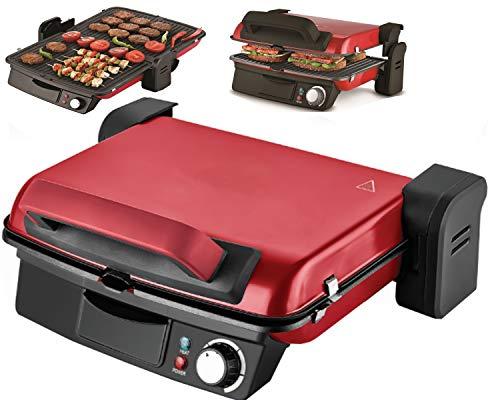 Kontaktgrill   Panini-Maker   Tischgrill   Sandwichtoaster   2000 Watt   180° Öffnung   Anti-Haftbeschichtung   Thermostat   Cool-Touch-Technologie   Fettauffangschale   (Abnehmbare Platten/Rot)