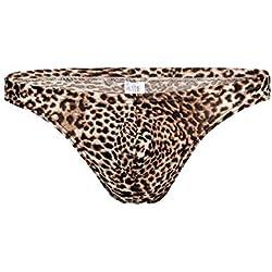 JZTRADING Leopardo Ropa Interior para Hombres Moda Tanga Sexy Tentación Cómodos Calzoncillos T-Back Cintura Baja Estiramiento Panty Jockstrap Sports (Tamaño de Europa)