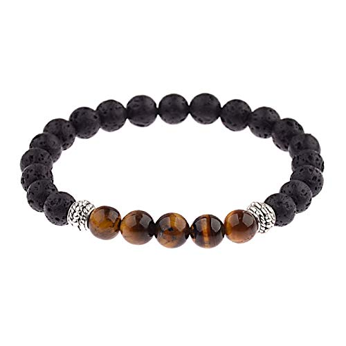 s Holz Muster Anhänger Natürlichen Lavastein Armband Für Herren Vintage Natural Stone Beads 8 Mm Chakra Armband Für Lady Personalisierte Kleidung Accessoires Und Ihre Freunde G ()