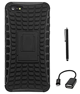 DMG Rubberized Hard Back Kickstand Case for Apple Iphone 5 (All Black) + USB OTG Cable + Stylus