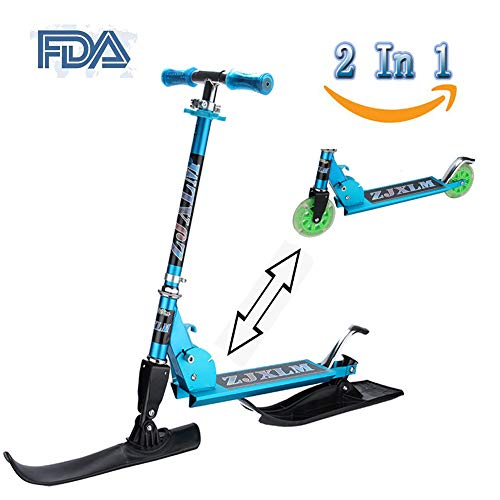 Risilays monopattino a 2 in1 pieghevole per 2 ruote lampeggiante regolabile scooter in alluminio da sci adulto