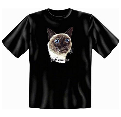 geil bedruckte T-Shirt mit Katzen Motiv / Siamkatze ! Schwarz