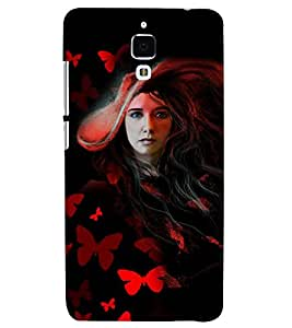 PrintVisa Stylish Cool Girl Butterfly 3D Hard Polycarbonate Designer Back Case Cover for Xiaomi Redmi Mi4