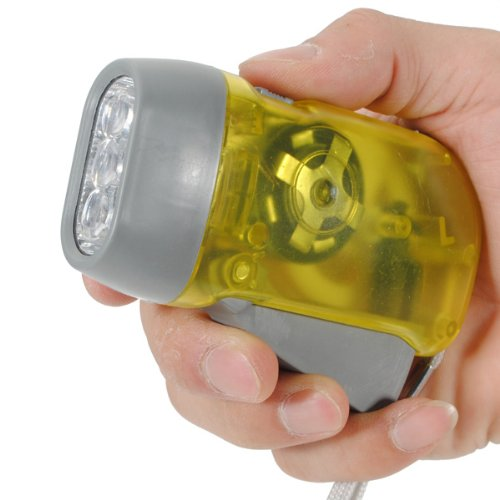 3 LED Hand Light Camping Taschenlampe Dynamolampe Lampe Leuchte Flashlight Torch Gelb - 2