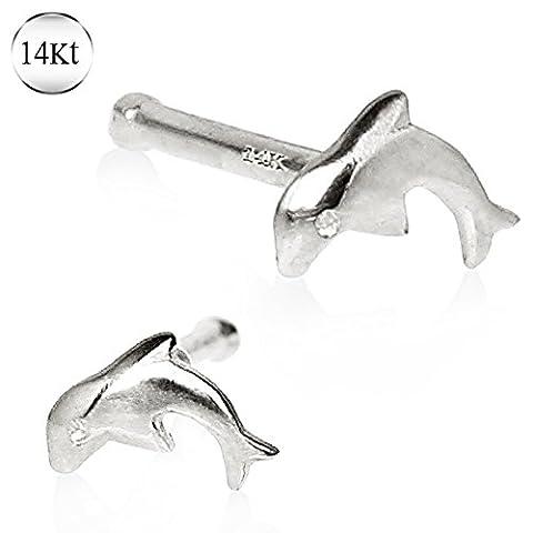 Beautiful 14kt White Gold Dolphin Stud 0.9g 0.8mm Oeil à nez