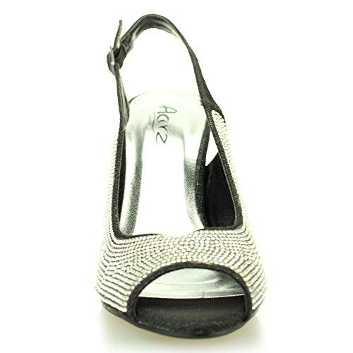Frau damen abend kitten-heel peep toe diamant hochzeit party sandale schuhe größe (Gold, Silber, Schwarz) Schwarz