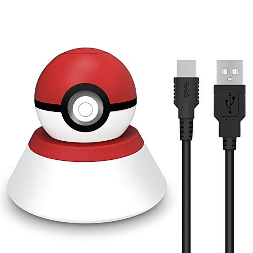 MoKo Charging Stand for Nintendo Switch Poke Ball Plus Controller, Charger Station Holder Charging Dock Mount with Charging Cable for Nintendo Switch Pokeball Plus Controller – Red + White