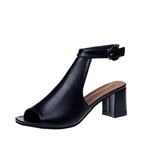 SANFASHION Bekleidung SANFASHION Damen Schuhe 144155, alla Schiava Donna Sandali Estivi, Tacchi Alti da Temperamento, Scarpe Casual da Donna Selvagge Multicolore (Nero), 38 EU