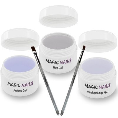 Magic Items Kit pour ongles 3 colles gel 15 ml + 2 pinceaux