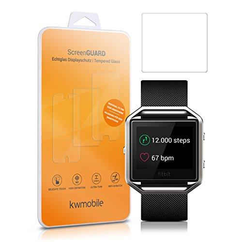 kwmobile 2X Echtglas Displayschutzfolie für Fitbit Blaze - Fitness Armband Schutzglas Folie Schutzfolie Displayschutz Glasfolie in kristallklar