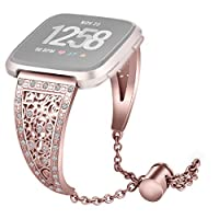 Fashion Replacement Crystal Metal Watch Band Wrist Strap For Fitbit Versa(Rose Gold)