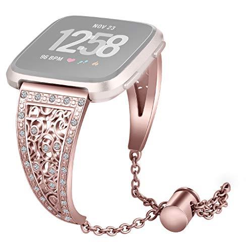 muster Kristall Metall Für Fitbit Versa Lite Ersatzarmband, Perforation Verstellbares Armband Uhrenarmband (Roségold) ()