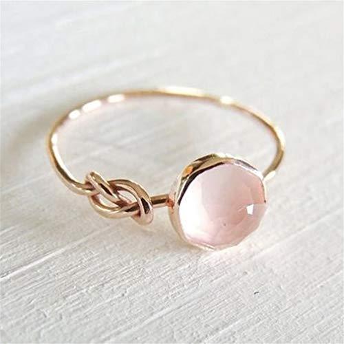 HYhy Diamant Rosa Kristall Band Ring Edelstein Edlen Schmuck für Frauen Geschenkset, 7#