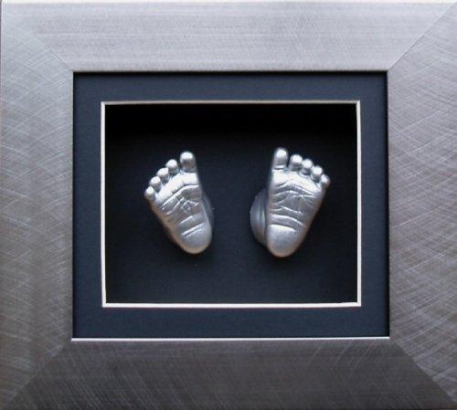 Anika-Baby BabyRice 15,2x 12,7cm Guss-Set für Baby mit gebürstetem Zinn 3d-Effekt Display Karton Rahmen (Metallic Silber)