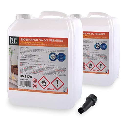 Höfer Chemie 2 x 5 L (10 Liter) Bioethanol 96,6{a9b9f1a46ad0cf87baef6de6f6681f32cc555cfc04fe3b5b22137a4f530692aa} Premium - TÜV SÜD zertifizierte QUALITÄT - für Ethanol Kamin, Ethanol Feuerstelle, Ethanol Tischfeuer und Bioethanol Kamin