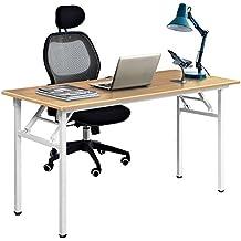 DlandHome Escritorios Mesa Plegable de Ordenador Escritorio de Oficina Mesa de Estudio Puesto de Trabajo Mesa