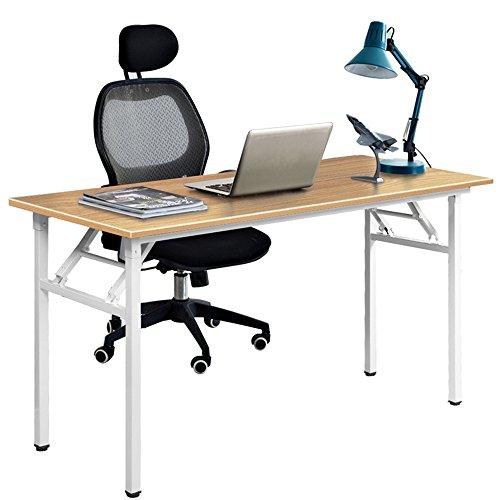 DlandHome 120 x 60 cm Computertisch Klapptisch AC5-120TW, anständig und Stabil, Holz, Arbeitszimmer...