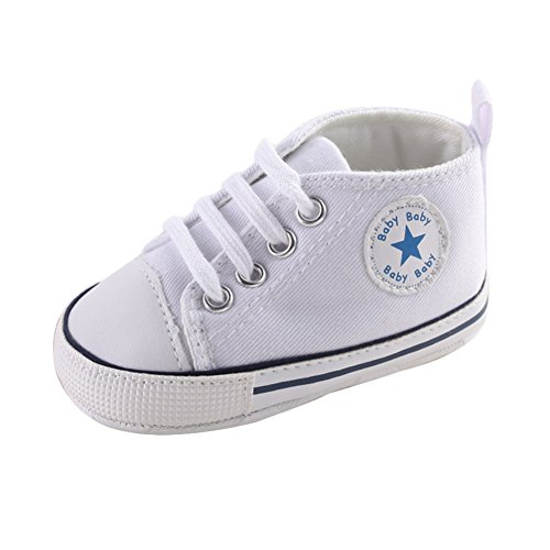 Sweet Canvas Baby Sneaker Antiskid Soft Cute Trainer Shoes 0-18M (S: 0~6 months, White)