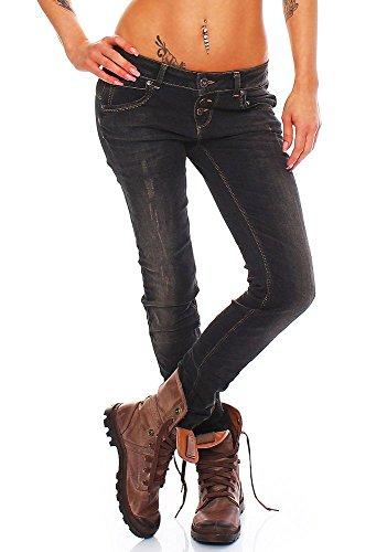 M.O.D Damen Jeans Ulla Skinny Fit Brick Black destroyed (29/34)