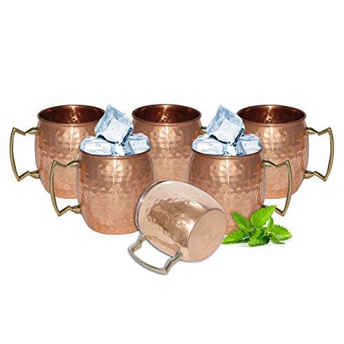 DakshCraft ® Di rame pura Handmade martellato Moscow Mule Tazza, Set di 6 tazze