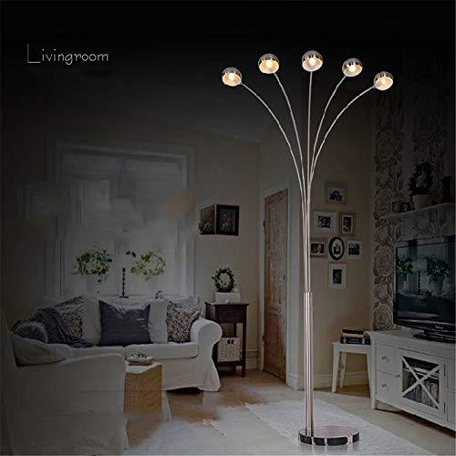 Stehlampe 5-köpfige LED-Arc-Stehleuchte mit Marmorboden - ideal zum Lesen - freistehend, hinter der Wohnzimmercouch