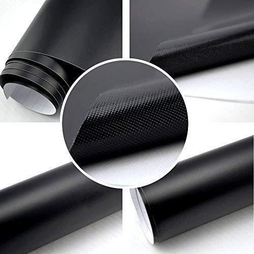 Autofolie Matt schwarz BLASENFREI 2m x 1,52m mit Luftkanäle 3D Flex