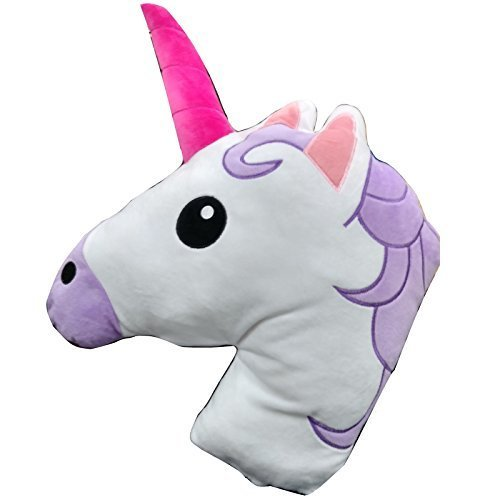Unicorn Horse Emoji Head Shaped Emoticon Soft Plush Pillow Filled Padded Stuffed Cushion Bedding by Unicorn