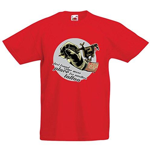 en/Mädchen T-Shirt Aerograph - Tätowierungs-Tinten-Maschine, ist jeder Zoll tätowiert, coole Spitzen, Fan-Kleidung, Spaß-Geschenk-Ideen (7-8 years Rot Mehrfarben) (Machen Halloween-magazin)