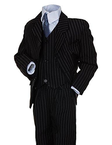 Festlicher 5tlg. Jungen Anzug in vielen Farben #18nsw Nadelstreifen Schwarz Gr. 12 / 140 / 146 (Nadelstreifen-anzug)