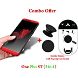 Like It Grab It Oneplus 5T / One Plus 5T Full Protection 360º Double Dip Super Slim Premium Shockproof 3 In1 Full Body Protection IPaky Back Cover Case For Oneplus 5T - ( Red ) + PopSockets | Pop Grip Socket & Pop Mount Designer Phone Stand Holde