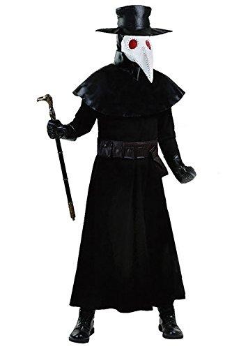 Pestarzt Kostüm Cosplay für Halloween Karneval Schwarz Herren