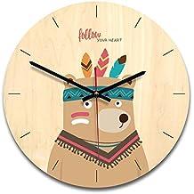 QAQ Dibujos Animados Creativo Silencioso Reloj De Pared Movimiento De Barrido Niños Redondo ...