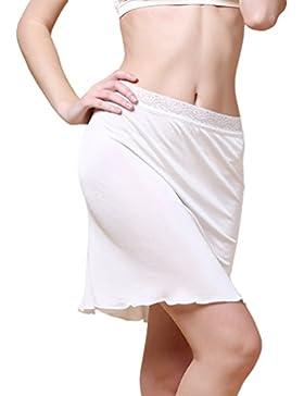 Dexinx Mujeres Half Slip Cintura Elástica de Encaje de Longitud Corta Underskirt Verano Color Sólido Cómoda Mini...