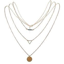 JewelryWe Collar de Mujer Joven Boho Chic Collar de 3 Hilos Retro Sencillo, Dorado Collar con Colgante de Moneda Elegante, Buen Regalo para Navidad