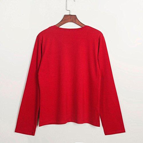 T-shirt Donna,LandFox Donna Paillettes Tasca Manica Lunga V-Collo Accostare Camicetta Top Maglietta Rosso