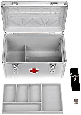 Songmics Botiquín de Primeros Auxilios con Bandolera Asa Marco de Aluminio ABS plateado 35 x 20,5 x 23 cm JBC362S