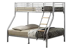Home Source -Children's Triple Sleep Metal Bunk Guest Bed Silver Mesh Base