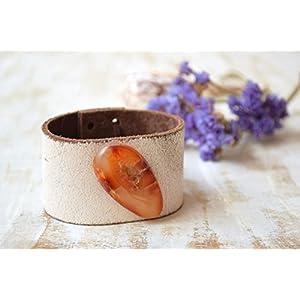 Achat böhmischen Leder Manschette Armband