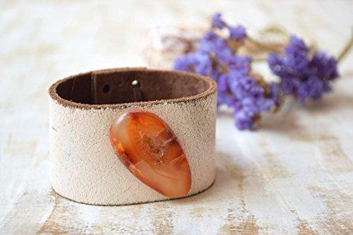 Achat böhmischen Leder Manschette Armband (Handgelenk-stulpe-armband)
