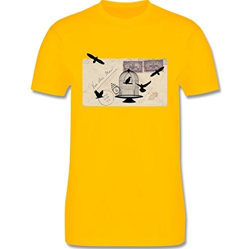 Eulen, Füchse & Co. - Alter Brief Vogelkäfig - Herren Premium T-Shirt Gelb