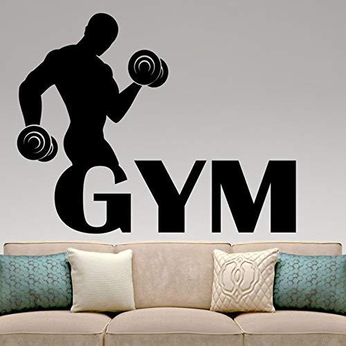 BailongXiao Gym Wandtattoo Fitness Vinyl Aufkleber Sport Club Dekoration Fitness Center Dekoration Home Interior Design Abnehmbare Wandbild 75x95cm