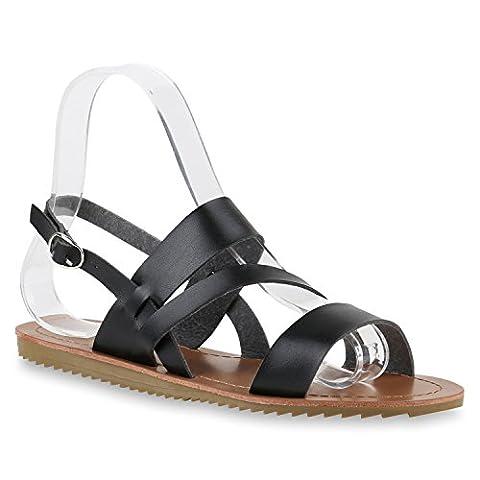 Damen Plateau Sandalen Komfort-Sandalen Bequem Strick  Sommer Schleifen Sandale Flach Flats Quasten Schuhe 143908 Schwarz Glatt 40  