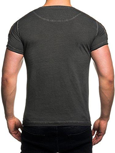 TAZZIO T-Shirt mit Kunstleder-Patch 15136 Anthrazit