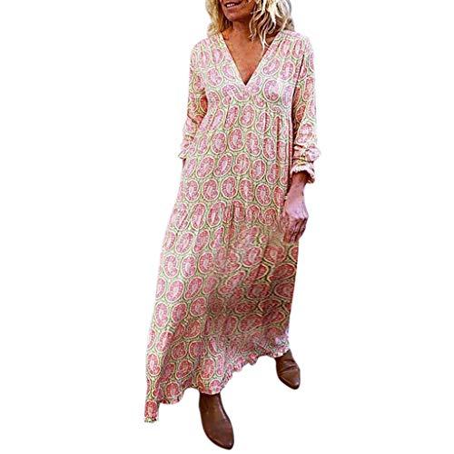 SHINEHUA Kleider Damen Maxikleid Langarm Elegant Kleider Strandkleider Boho Sommerkleid V-Ausschnitt Lose Lange Kleid Elegante Knielang Festlich Partykleider Freizeitkleider
