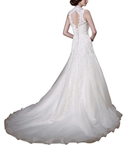 GEORGE BRIDE Das einzigartige Design der Vintage und eleganten Perlen Spitze Hochzeitskleid Elfenbein
